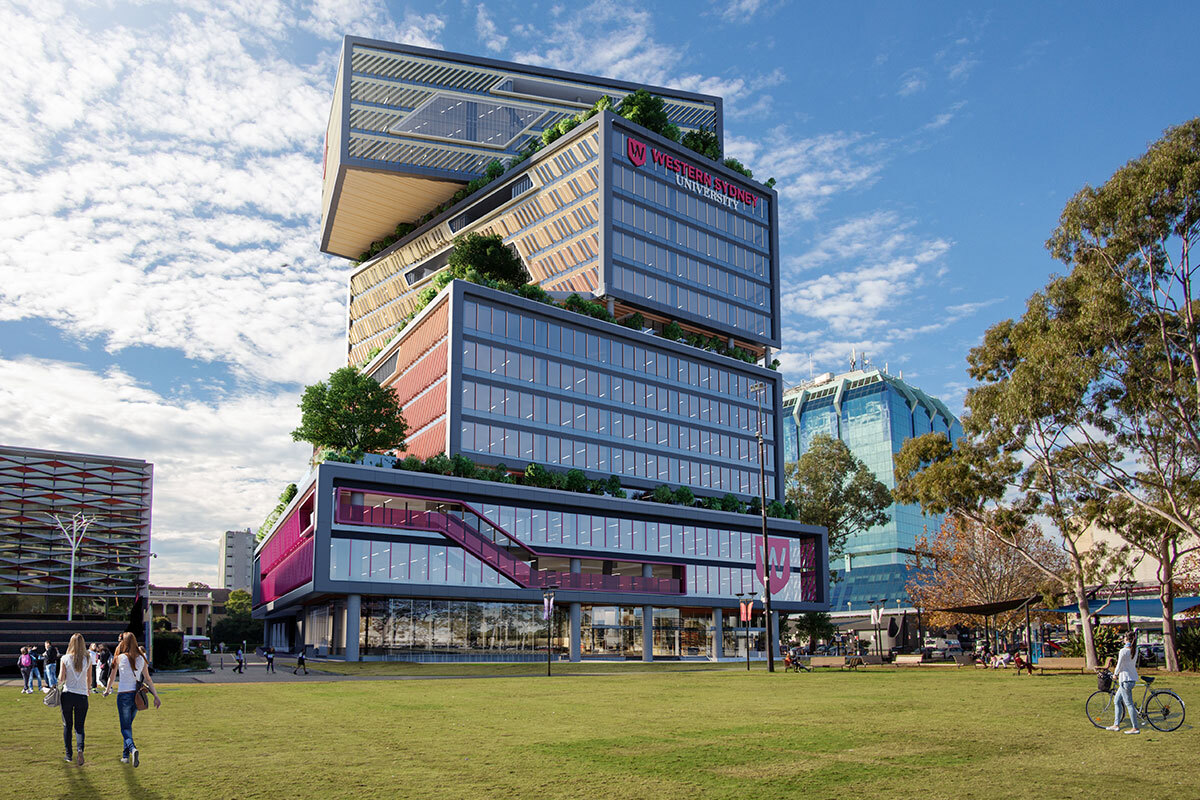 Artists impression of Vertical Campus in the Bankstown CBD
